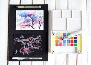 Water color paintings with Koi Water Colors sketch box CAC